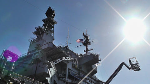 San Diego US Naval Base USS Midway Carrier 03 Stock Video Footage