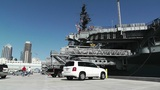San Diego US Naval Base USS Midway Carrier 09 Museum Parking Lot stock footage