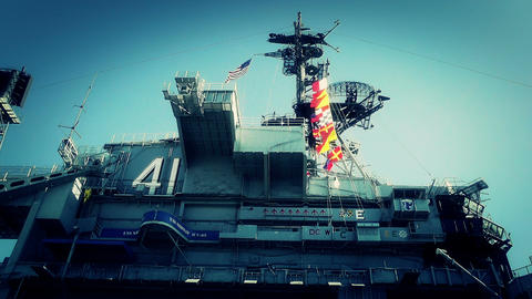 San Diego US Naval Base USS Midway Carrier 21 stylized Stock Video Footage