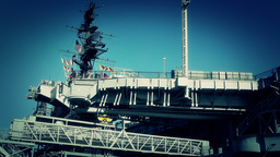 San Diego US Naval Base USS Midway Carrier 23 stylized Stock Video Footage