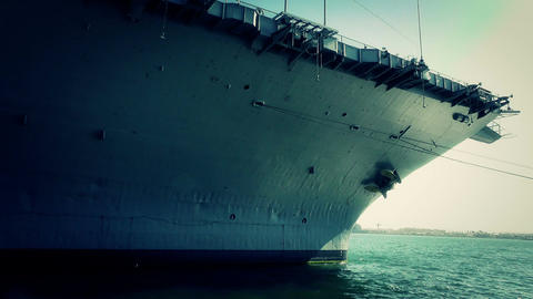 San Diego US Naval Base USS Midway Carrier 25 stylized front Stock Video Footage