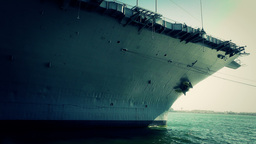 San Diego US Naval Base USS Midway Carrier 25 stylized front Footage