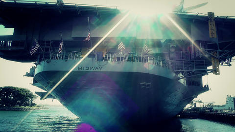 San Diego US Naval Base USS Midway Carrier 29 stylized Stock Video Footage