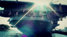 San Diego US Naval Base USS Midway Carrier 29 stylized Footage