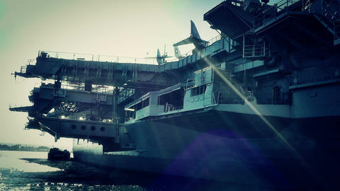 San Diego US Naval Base USS Midway Carrier 31 stylized Stock Video Footage