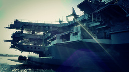 San Diego US Naval Base USS Midway Carrier 31 stylized Footage