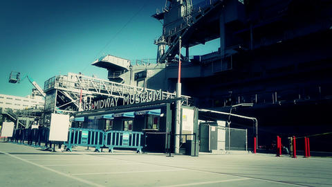 San Diego US Naval Base USS Midway Carrier 33 museum... Stock Video Footage