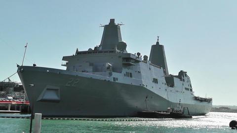 San Diego US Naval Base USS San Diego LPD 22 battleship 01 Stock Video Footage