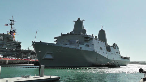 San Diego US Naval Base USS San Diego LPD22 battleship 03 Stock Video Footage