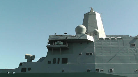 San Diego US Naval Base USS San Diego LPD22 battleship 05... Stock Video Footage