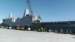 San Diego US Naval Base USS San Diego LPD22 battleship 07 Stock Video Footage