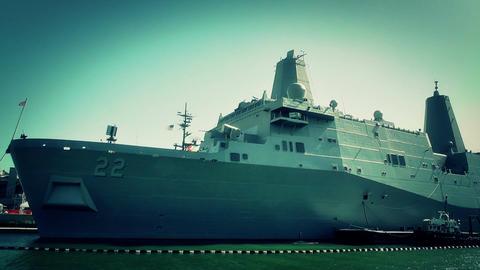 San Diego US Naval Base USS San Diego LPD22 battleship 11... Stock Video Footage