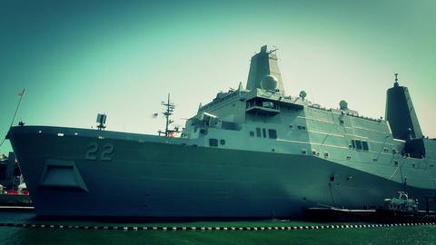 San Diego US Naval Base USS San Diego LPD22 battleship 11 stylized Footage