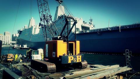 San Diego US Naval Base USS San Diego LPD22 battleship 13... Stock Video Footage