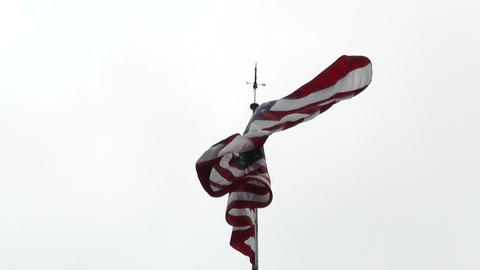 USA flag in strong wind 60 fps native slowmotion 02 Stock Video Footage