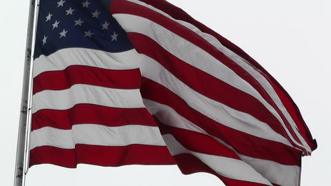 USA flag in strong wind 60 fps native slowmotion 04 Stock Video Footage