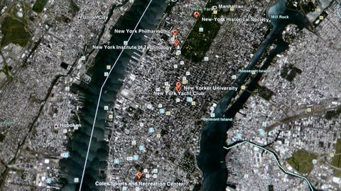 touch globe map on ipad,enlarged to NewYork city of American United States Footage