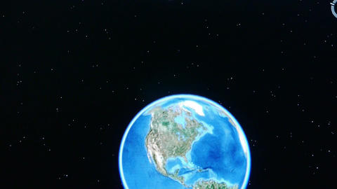touch globe map on ipad,planet in universe Stock Video Footage