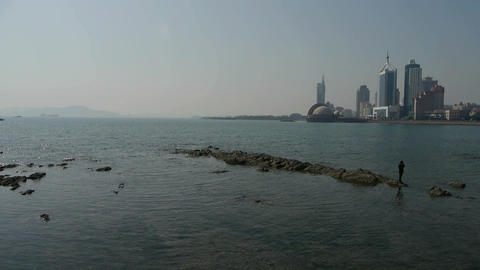 Panoramic views of Qingdao Seaside Stock Video Footage