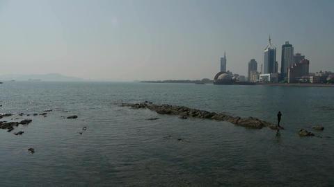 Panoramic views of Qingdao Seaside Stock Video Footage