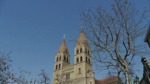 Panoramic of Qingdao Catholic Church Square & tree Stock Video Footage