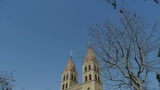 Panoramic of Qingdao Catholic Church Square & tree Footage