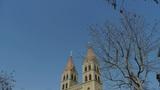 Panoramic of Qingdao Catholic Church Square & tree Footage