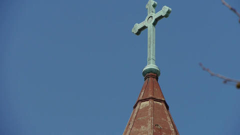 Qingdao Catholic Church's Cross & tree branches Stock Video Footage