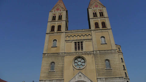 Panoramic of Qingdao Catholic Church Stock Video Footage
