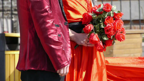 Groom and bride together,Bride wearing a red wedding... Stock Video Footage