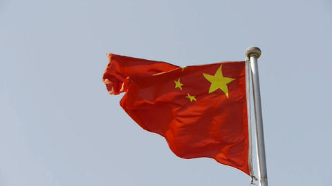 Chinese flag flutters in wind Stock Video Footage