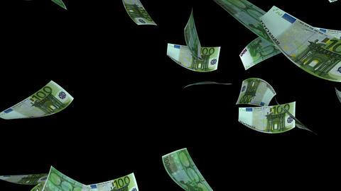 Falling Euro (Loop + Matte) Stock Video Footage