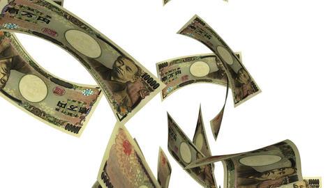 Falling Yen (Loop on White) Stock Video Footage