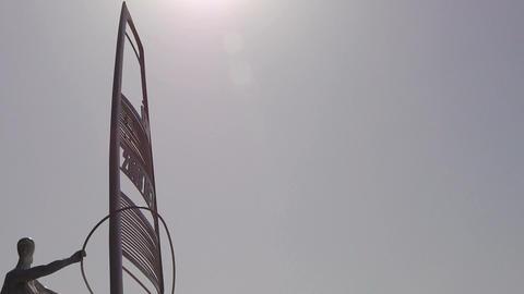 Windsurfing sculpture statue Stock Video Footage