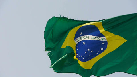 Brazil flag flutters in wind Stock Video Footage