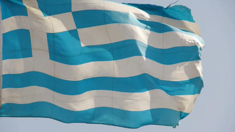 Greece flag is fluttering in wind Stock Video Footage