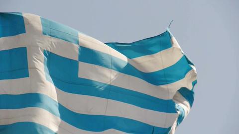 Greece flag is fluttering in wind Stock Video Footage