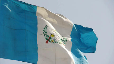 Guatemala flag is fluttering in wind Stock Video Footage
