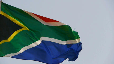 South African flag is fluttering in wind Stock Video Footage