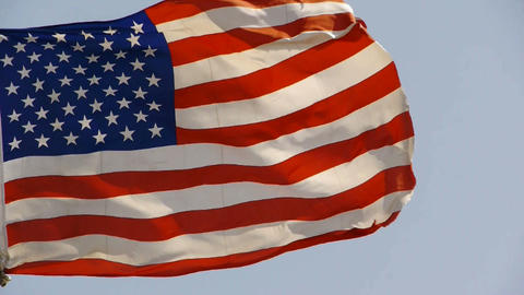 American flag is fluttering in wind Stock Video Footage