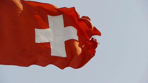 Switzerland flag is fluttering in wind Stock Video Footage