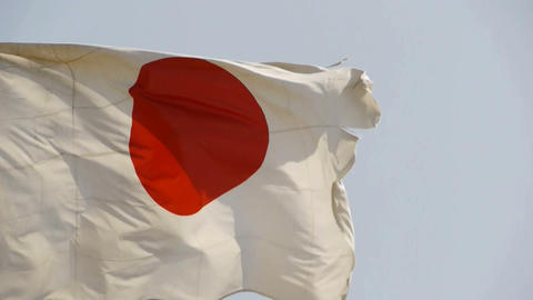 Japanese flag is fluttering in wind Stock Video Footage