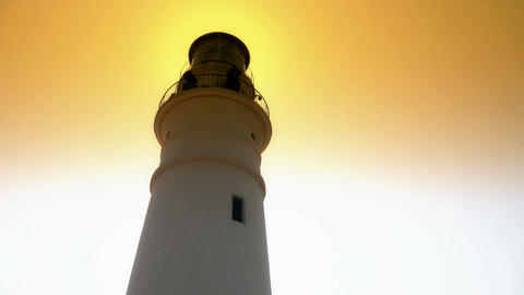 Lighthouse in harbor & Dusk,sunrise,sunset Stock Video Footage