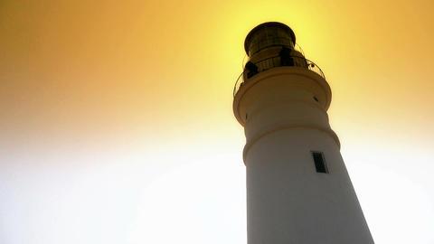 Lighthouse in harbor & Dusk,sunrise,sunset Stock Video Footage