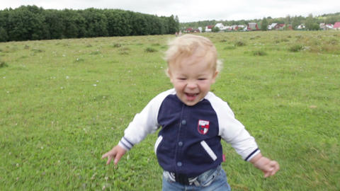 First steps. Smiling and laughing Footage