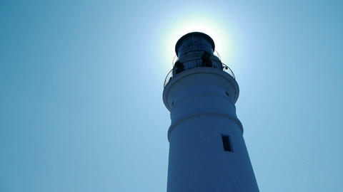 Lighthouse in harbor & Coastal city Stock Video Footage