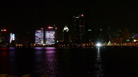 Seaside city at night,skyscrapers,metropolis,Night neon view,Hong Kong,New York Footage