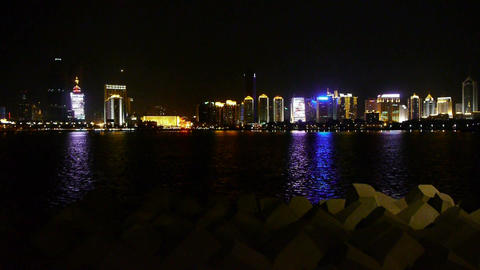 Seaside city at night,skyscrapers,metropolis,Night neon view,Hong Kong,New York Footage