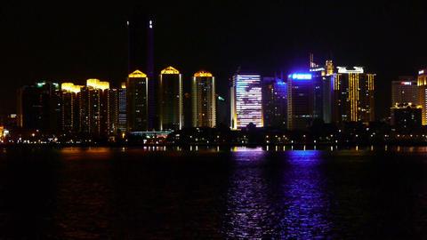 Seaside city at night,skyscrapers,metropolis,Night neon... Stock Video Footage