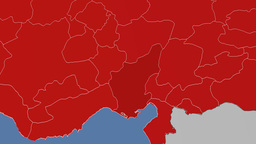Adana - Turkey region extruded. Solids Animation